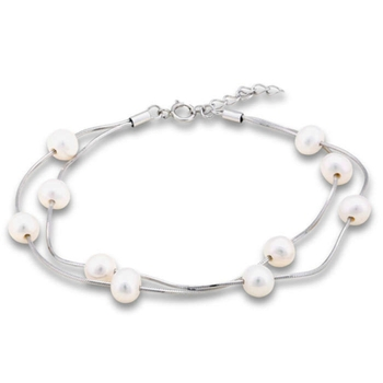 Silver Shine 92.5 Streling Silver Floating Pearl Memory Chain Bracelet for Women And Girls