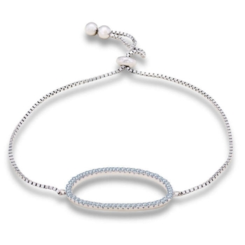 Silver Shine 92.5 Streling Silver Crystal Round Bracelet for Women And Girls