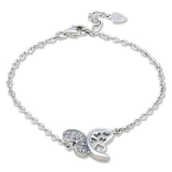 Silver Shine 92.5 Streling Silver Half Butterfly Diamond Bracelet for Women And Girls