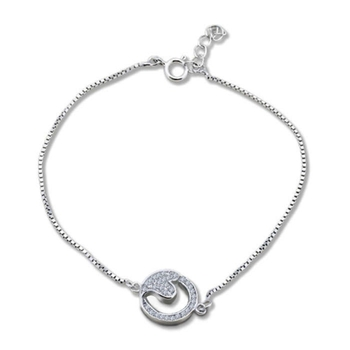 Silver Shine 92.5 Streling Silver Friendship Heart In Round Bracelet for Women And Girls
