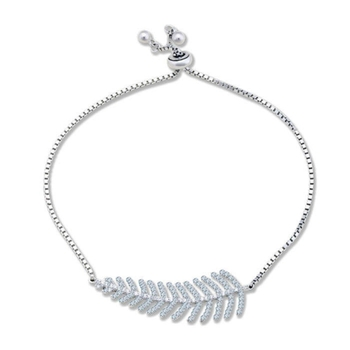 Silver Shine 92.5 Streling Silver Charm Leaf Silver Bracelet for Women And Girls