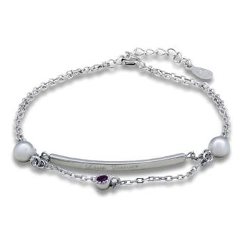 Silver Shine 92.5 Streling Silver Love Forever Chain Bracelet for Women And Girls