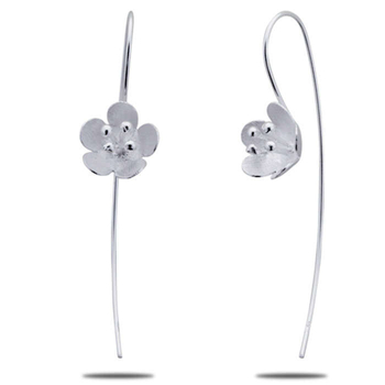 Silver Shine 92.5 Sterling Prity Flower Sterling Silver Earring for Women & Girls