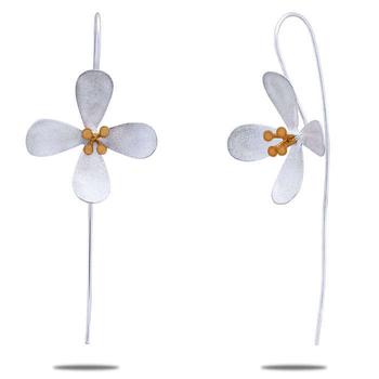 Silver Shine 92.5 Sterling New Flower Silver Earring for Women & Girls