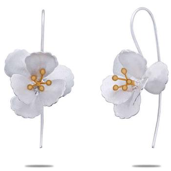 Silver Shine 92.5 Sterling Sterling Silver Flower Drop Earring for Women & Girls