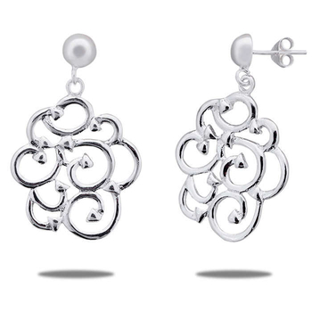 Silver Shine 92.5 Sterling Flower Of Life Silver Stud Earring for Women & Girls