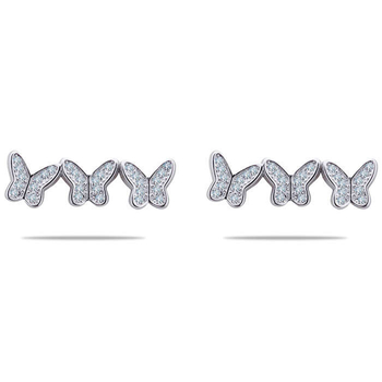 Silver Shine 92.5 Sterling Three Connected Butterfly Silver Earring for Women & Girls