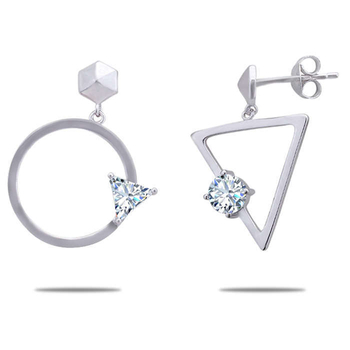 Silver Shine 92.5 Sterling Triangle And Circle Silver Earring for Women & Girls