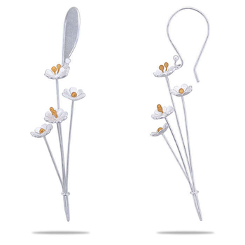 Silver Shine 92.5 Sterling Flower Bokeh Silver Earring for Women & Girls