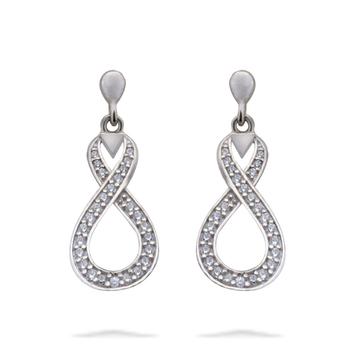 Silver Shine 92.5 Sterling Diamond Eight Shape Delicate Earring for Women & Girls