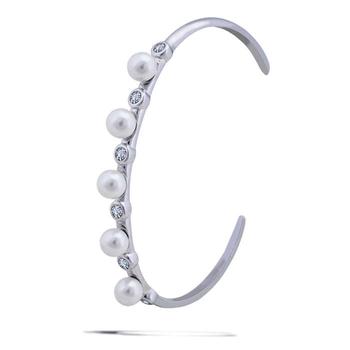 Silver Shine 92.5 Sterling SilverFive Pearl Hard Bracelet for Women & Girls