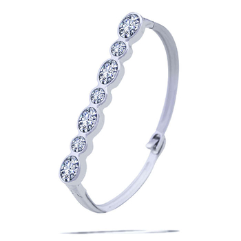 Silver Shine 92.5 Sterling SilverBig & Small Diamond Bracelet for Women & Girls