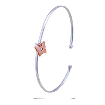 Silver Shine 92.5 Sterling SilverRose Gold Butterfly Bracelet for Women & Girls