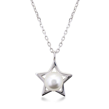 Silver Shine 92.5 Sterling Silver Center Pearl Silver Star Necklace for Women & Girls