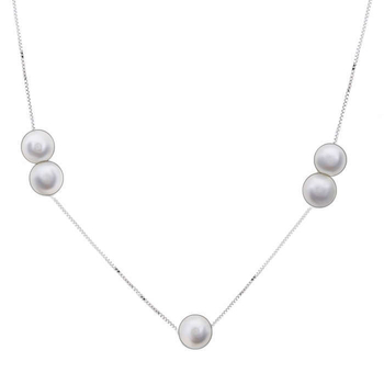 Silver Shine 92.5 Sterling Silver Lovely Pearl Silver Necklace for Women & Girls