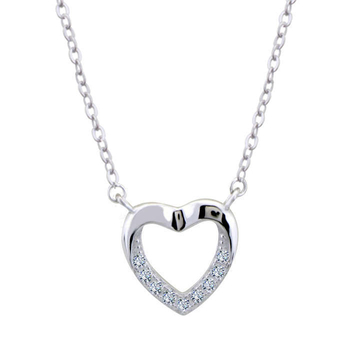 Silver Shine 92.5 Sterling Silver Big Heart Silver Diamond Necklace for Women & Girls