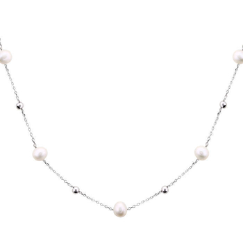 Silver Shine 92.5 Sterling Silver Baroque Pearl Silver Necklace for Women & Girls