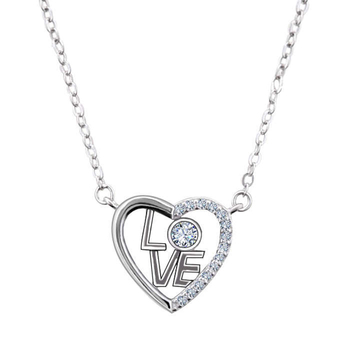 Silver Shine 92.5 Sterling Silver L O V E  In Heart Silver Necklace for Women & Girls