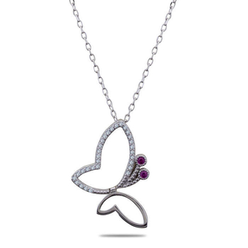 Silver Shine 92.5 Sterling Silver Pink & Silver Diamond Necklace for Women & Girls