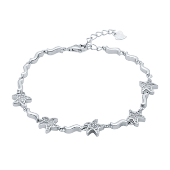 Silver Shine 92.5 Sterling Silver Star Diamond Silver Bracelet  for Women & Girls