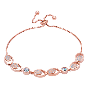 Silver Shine 92.5 Sterling Silver Circle Rose Gold Bracelet  for Women & Girls