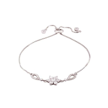 Silver Shine 92.5 Sterling Silver Single Flower Bracelet  for Women & Girls