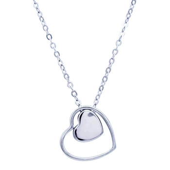 Silver Shine 92.5 Sterling SilverDouble Heart  Necklace for Women & Girls