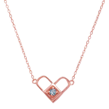 Silver Shine 92.5 Sterling SilverRose Heart With Diamond  Necklace for Women & Girls
