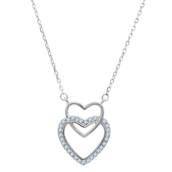 Silver Shine 92.5 Sterling SilverBig & Small Heart  Necklace for Women & Girls