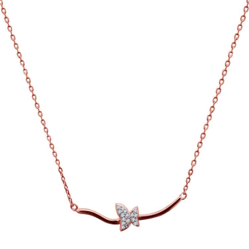 Silver Shine 92.5 Sterling SilverCute Butterfly Rose Gold  Necklace for Women & Girls
