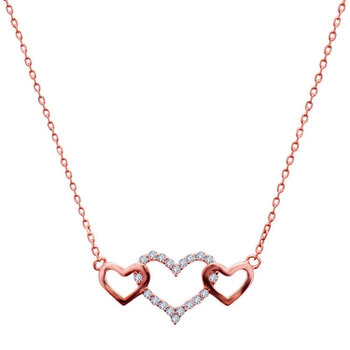 Silver Shine 92.5 Sterling SilverThree Heart With Diamond Rose Gold  Necklace for Women & Girls