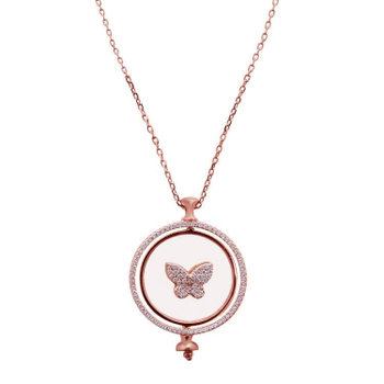 Silver Shine 92.5 Sterling SilverButterfly Round Pendent Rose Gold  Necklace for Women & Girls
