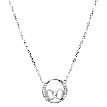 Silver Shine 92.5 Sterling SilverConnected Heart Sterling Silver  Necklace for Women & Girls