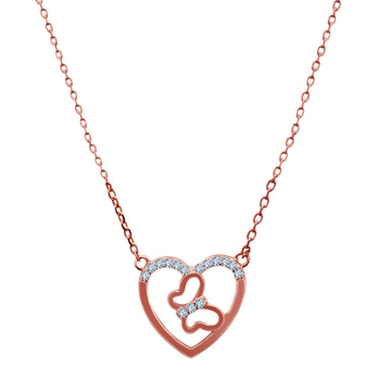 Silver Shine 92.5 Sterling SilverCute Butterfly In Heart Rose Gold  Necklace for Women & Girls