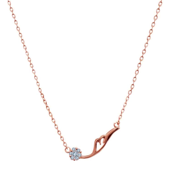 Silver Shine 92.5 Sterling SilverDelicate Rose Gold Chain  With Heart  Necklace for Women & Girls