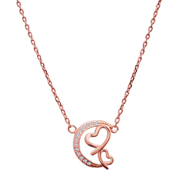 Silver Shine 92.5 Sterling SilverMoon With Hearts Rose Gold  Necklace for Women & Girls