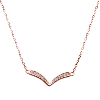 Silver Shine 92.5 Sterling SilverV Shape  Rose Gold  Necklace for Women & Girls