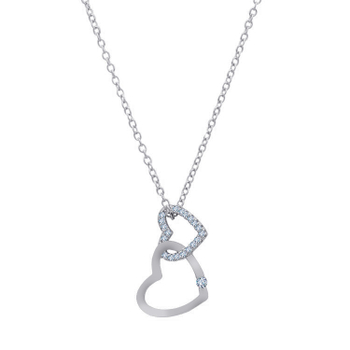 Silver Shine 92.5 Sterling SilverCute Fancy Hanging Heart  Necklace for Women & Girls
