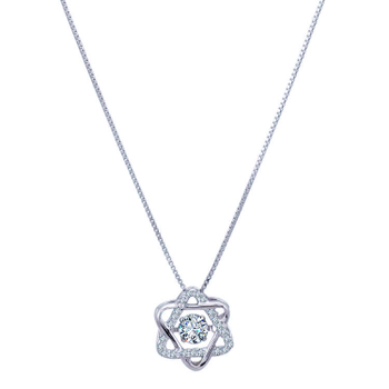 Silver Shine 92.5 Sterling SilverDancing Diamond  Necklace for Women & Girls