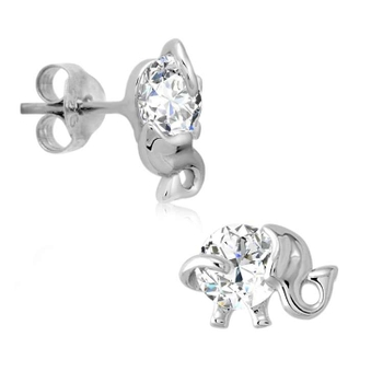 Silver Shine 92.5 Sterling Silver Diamond Elephant Earring For Women & Girls