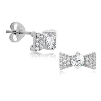 Silver Shine 92.5 Sterling Silver Small Diamond In Bow Earring For Women & Girls