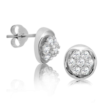 Silver Shine 92.5 Sterling Silver Fancy Round Earring For Women & Girls