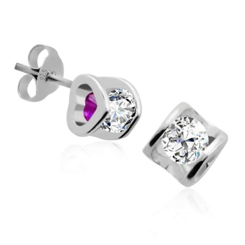 Silver Shine 92.5 Sterling Silver Hollow Heart Earring For Women & Girls