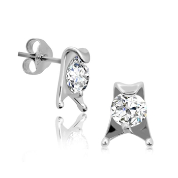 Silver Shine 92.5 Sterling Silver Single Stone Fancy Earring For Women & Girls