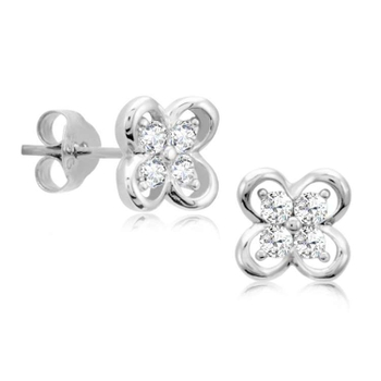 Silver Shine 92.5 Sterling Silver Flower Shape Silver Earring For Women & Girls