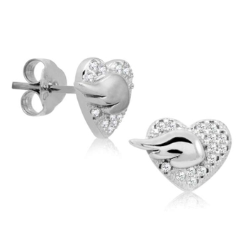 Silver Shine 92.5 Sterling Silver Fancy Heart Silver Earring For Women & Girls