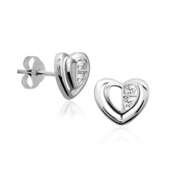 Silver Shine 92.5 Sterling Silver Big Heart Earring For Women & Girls