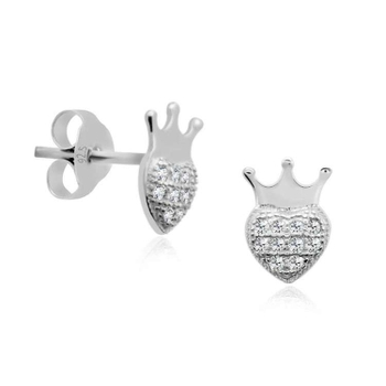 Silver Shine 92.5 Sterling Silver Small Crown Earring For Women & Girls