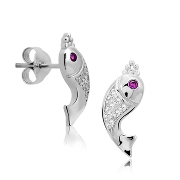 Silver Shine 92.5 Sterling Silver Stylish Fish Silver Earring For Women & Girls