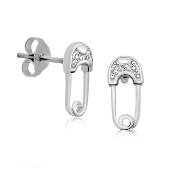 Silver Shine 92.5 Sterling Silver Small Safety Pin Earring For Women & Girls